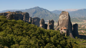 Stone pinnacles in Meteora Royalty Free Stock Photo