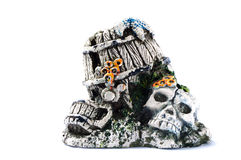 Stone pirate decoration for fish aquarium Royalty Free Stock Images