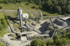 Stone pit with gravel work detail Royalty Free Stock Photos