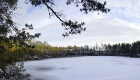 Stone pit in winter Stock Image
