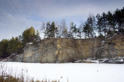 Stone pit in winter Royalty Free Stock Images