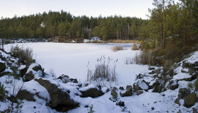 Stone pit in winter Stock Photo
