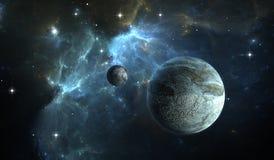 Stone Planet with moon on background nebula. Extrasolar planet. Stone Planet with moon on background nebula Stock Images