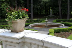 Stone planters and water fountains Stock Photo