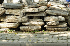Stone plate and footpath Stock Photography