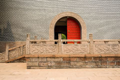 Stone platform with balustrades before castle gate Stock Photography