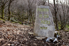 Stone of the poets in Busmayor beech. Stock Photos
