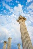 Stone Poles of Roman Aqueduct Ruins under Dreamy Sky Stock Images