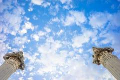 Stone Poles of Roman Aqueduct Ruins under Dreamy Sky Stock Photos