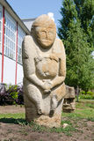 Stone polovtsian sculpture in park-museum of Lugansk, Ukraine royalty free stock photo