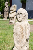 Stone polovtsian sculpture in park-museum of Lugansk, Ukraine royalty free stock photography