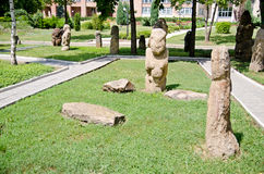 Stone polovtsian sculptures in park-museum of Lugansk, Ukraine royalty free stock photos