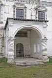 Stone porch of ancient church Stock Photos