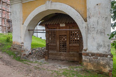 Stone porch of the chapel and the cross of St. Cyril Royalty Free Stock Photography