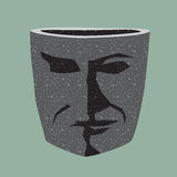 The stone pot in the form of the men head. Royalty Free Stock Images