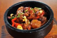 Stone pot Pepper Chicken. Korean food - stone pot Pepper Chicken Stock Image