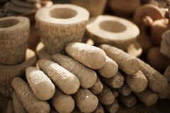 Stone products on market in Myanmar. Mortars and pestles close u Royalty Free Stock Images