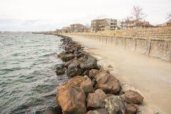 Stone promenade in Pomorie, Bulgaria Stock Photography