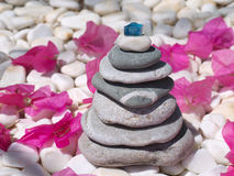 Stone pyramid in balance on flowers background Royalty Free Stock Image