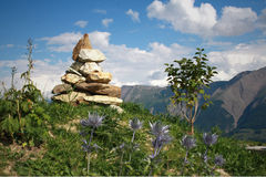 Stone pyramid. Pyramid made from stones near Riederalp Stock Photo
