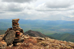 Stone Pyramid On The Top Of Mountain Stock Photo