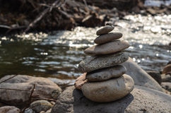 Stone Pyramid. On river side Royalty Free Stock Images