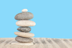 Stone pyramid on sand, harmony and balance concept Stock Photography