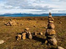 Stone pyramid. In Thingvellir area (Iceland Royalty Free Stock Photos