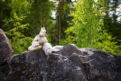 Stone pyramid troll. View on stone pyramid troll Royalty Free Stock Photography