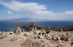 Stone pyramids at Isla del Sol, Lake Titicaca, Bolivia Stock Photo