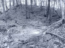 Stone Pyres Hidden Waterfall Trail, Belfast NY Black and White stock images