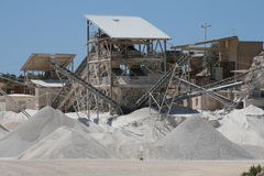 Stone quarry. Making of crushed stone at stone quarry Royalty Free Stock Image