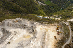 Stone quarry from above, Orobie Stock Photo