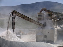 A stone quarry in action. In Greece Royalty Free Stock Photography