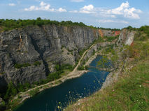 Stone quarry Big America near Prague, Czech Republic. The Big America. Abandoned dolomite quarry is beautiful place in The Central Bohemia. Czech Republic royalty free stock photos