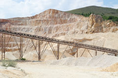 Stone quarry. Quarry conveyor in a stone quarry Royalty Free Stock Photo