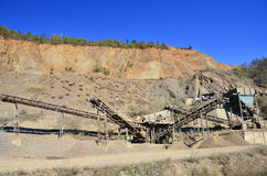 Stone quarry and equipment Royalty Free Stock Images