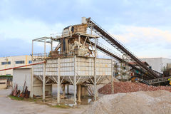 Stone quarry with silos Stock Image