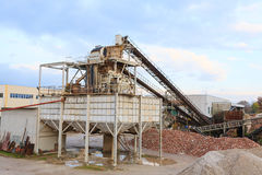 Stone quarry with silos Royalty Free Stock Photography