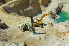 Stone quarry work Stock Images