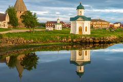 Stone quays and harbors of the Harbor of Well-being of the Transfiguration of the Solovetsky Monastery. Solovki, Russia stock photo