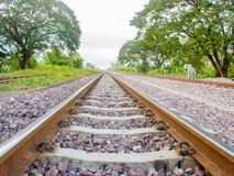 Stone on the rail way on the morning with copy space Royalty Free Stock Photo