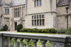 Stone Railing at Garden. A stone railed in front of a garden at a historic mansion Stock Image