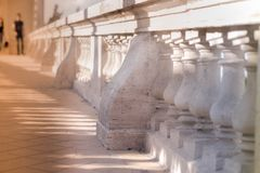 Stone railings baluster with sunshine - historic buildings.  royalty free stock photos