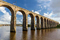 Stone railway bridge in Berwick-upon-Tweed royalty free stock photos