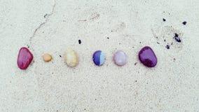 Stone Rainbow. Stones rainbow sand beach Stock Photo