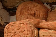 Stone reclining Buddha in Sri Lanka stock photography