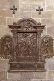 Stone relief in the Church of the Teutonic Order  in Vienna. Royalty Free Stock Photo