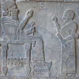 Stone relief King Barrakib and his scribe in Near East Museum in Royalty Free Stock Image