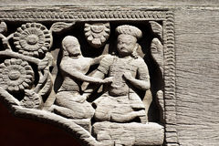 Stone relief in Patan's Durbar square Royalty Free Stock Photo